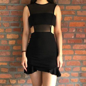 Missguided panel and sheer black mini dress